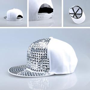 D Pyramid Plastic Studs Bling Flat Hip Hop Cap Rivet Hat Rock Punk White Silver(China (Mainland))