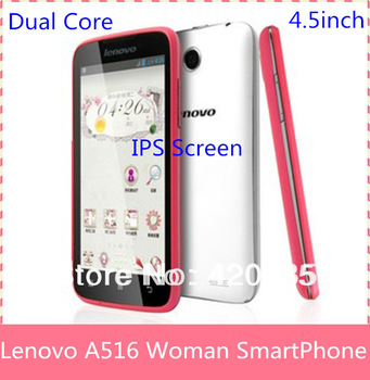 "2013 Original Lenovo A516 Woman Cell Phone MTK6572 Dual Core 4.5 "" Android 4.2.2 512MB+4GB GPS 3G Google Playstore Smart phone"