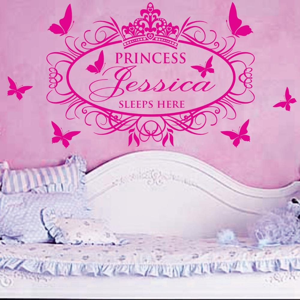Princess Sleeps Here X-Large Name Princess Girl Vinyl Wall Decals Stickers Art Cutsom name(China (Mainland))