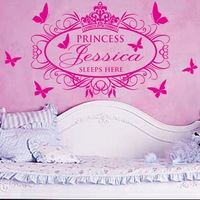 Princess Sleeps Here X-Large Name Princess Girl Vinyl Wall Decals Stickers Art Cutsom name