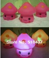 Led night light Pink mushroom lamp colorful lighting eye-lantern lilliputian luminous gift toys free shipping