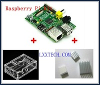 NEW 3 IN 1 Rev 2.0 512 ARM Raspberry Pi Project Board Model B + 3 heat sinks + 1 board case All 5pcs/lot