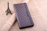 Free Shipping!Fasion Hot Sale New Promotion Long Men's Genuine Leather Plaid Purse/ Wallet C3138