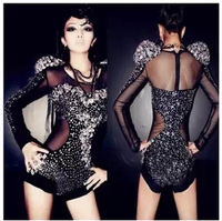 New Dance Rhinestone Women's Singer DS DJ Costume Fashion Diamond Coverall One-piece Dress Jumpsuit