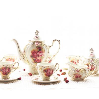 Free shipping ceramic rose teaset best choice for afternoon tea 1pc teapot 1pc sugar pot 1pc milk pot 6cups 6saucers(China (Mainland))