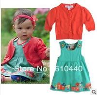 New!!5sets/lot Baby Girls fashion skirt suits Sweet cardigan/coat+dress 2pcs set Baby autumn clothing set