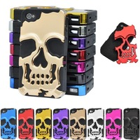 Bling Plating Skull Head Hybrid Gummy TPU HARD RUBBER Protective Case for iPhone4 4G 4S Free shipping