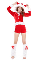 Hot women Christmas costume Luxury christmas winter set christmas top shorts beam sets Free Shipping