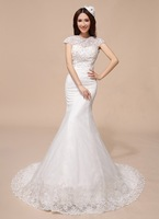 Simple & Marvelous Lace Embroidery Stand Collar Cathedral Train 2014 plus size with crystal Simple A-line Lace Wedding Dress