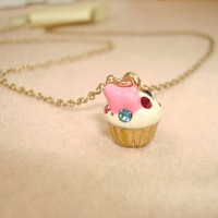 Fashion Accessories Colorful Glazed Cake Pendant Necklaces CN0073