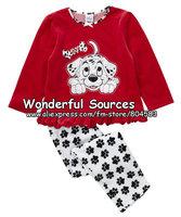 Retail, new 2014 spring/autumn Baby Girl Print brand Clothing Sets,Children cartoon clothing set (top+pants),kids pajama sets