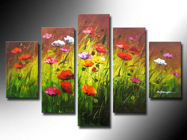 Transporte livre colorido papoula flor flores 5 pinturas a óleo painel h-qualidade arte artesanal sala decoração pictures(China (Mainland))