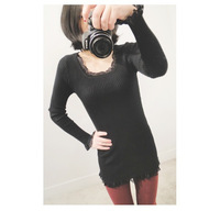 HOT Korean female Lace Black sweater bottoming shirt long sleeve sweater FREE SHIPPING