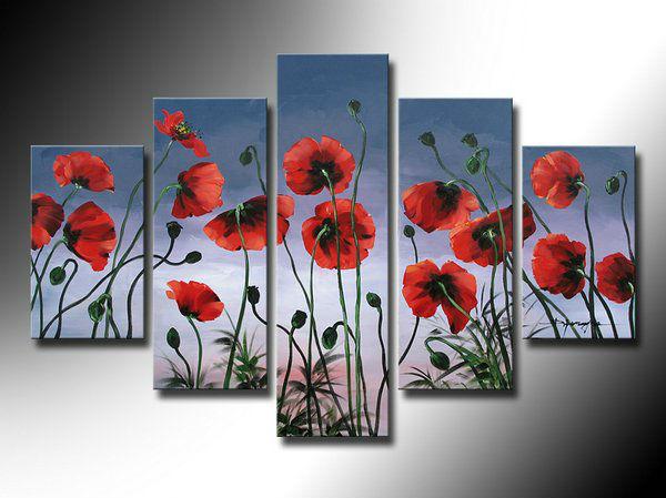 Grátis frete tentação poppy flowers 5 pinturas a óleo painel h-qualidade arte artesanal sala decoração pictures(China (Mainland))