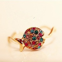 1pcs Free Shipping Hot Sale Korean Cute Fish Colorful Crystal Ring for Women Gold Plated Stellux Party Jewelry D017