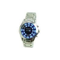 Men Women Black Silver Stainless Steel Simple LED Digital Sports Watch Bracelet