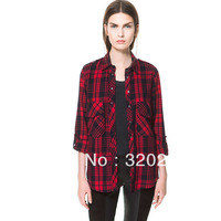 Free shipping ! Woman Blouse 2013  Girl's Fashion Red Plaid Double Pockets Casual Cotton  Blouse Ladies Womens  shirts