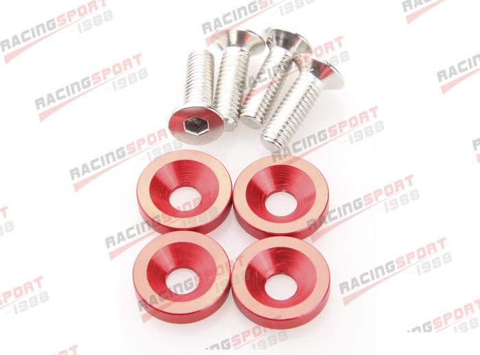 PC RED BILLET ALUMINUM FENDER/BUMPER WASHER/BOLT ENGINE BAY DRESS UP