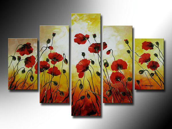 Papoilas vermelhas pintados à mão em plena flor da flor pintura a óleo de alta qualidade decoração home da parede arte sala decoração fotos(China (Mainland))