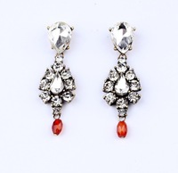 Free shipping new design 2013 fashion white clear crystal vintage elegant drop earrings for women length 3cm