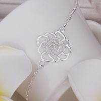 AK027 Nickle Free Silver Anklet Foot Jewelry Crystal Flower Leg Chain Women Gift Wholesale Free Shipping