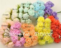 144pcs 2cm Artificial Head Rose Bouquet Latex Bridal Flower Wedding Centerpieces Craft