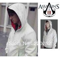 Assassins creed Brotherhood DESMOND Hoodie white/black hawk hoodies outerwears,Desmond Miles Cosplay Costume Hoodie