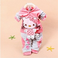 New Arrival Baby Girls Cartoon Hello Kitty Long Sleeve Clothing Sets Hoodies Jacket Long Pants Velvet Tracksuit