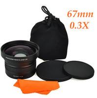 Free shipping HK Post 67mm 0.3X Super Wide Angle Fisheye + Macro Close-up +12.5 Lens For Camcorders DV Nikon Canon Camera