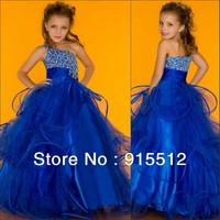 Royal Blue Ball Gown One Shoulder Beaded Latest Dress Designs for Flower Girls