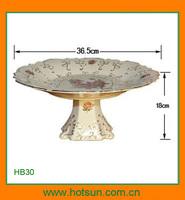 Elegant style footed modern ceramic fruit bowl HB30