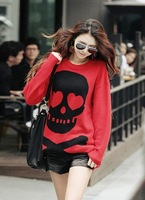 Sweater women's fashion street skull all-match loose sweater pullover sweater