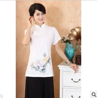 Free shipping National trend flower placketing stand collar cheongsam top fluid cool short-sleeve tang suit