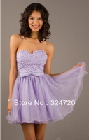 2014 new lilac sequins bowknot tulle Short prom dress damas dress for sweet 16 party free shipping