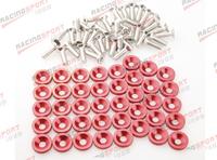 40 PC Red BILLET ALUMINUM FENDER/BUMPER WASHER/BOLT ENGINE BAY DRESS UP KIT