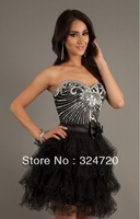 2014 new sparkling beaded bowknot short tulle prom dress sweet16 damas dress free shipping