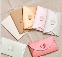 EN002 11*17cm Pearlized Heart Shape Paper Gift Envelopes for Wedding Invitation/Card/Decoration 4 Colors Available