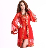 Free Shipping Sexy cheongsam tube top full dress kimono transparent gauze maid uniform sauna,tem ptation robe