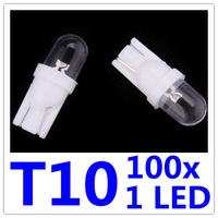 100 x  Car T10 W5W 168 194 1 LED HID Wedge Light Lamp Bulbs Dome White License Plate White