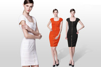 2013 new black white color sexy front zip Bandage dress Celebrity  Dresses  formal dress cocktail dress
