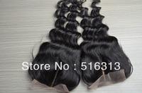 Natura Color 1b virgin human hair 130% Density middle part loose body wave Closure, Peruvian virgin hair lace closure Piece