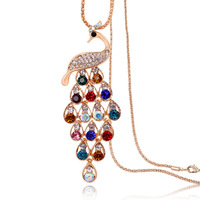 K099 necklace female peacock long design crystal long necklace fashion accessories