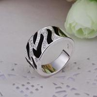 SR228  Fashion Accessories High Quality Black Enamel Crystal 925 Silver Ring For Women Men New 2013 Free Shipping