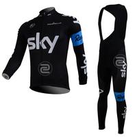 FREE SHIPPING/2013 Fleece Thermal Black SKY Long Sleeve and Bib Pants Cycling Jerseys /Wear/Clothing/Bicycle/Bike/Riding jerseys