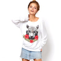 2013 New Arrival Haoduoyi Tiger And  Flowers Print  O-Neck  Long Sleeve Sweatshirt  Fleece For Women