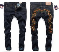 Free Shipping Embroidery exaggeration Big M high fashion designer brands Jeans 2014 Brand new Size:28~38