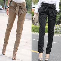 New 2014 Fashion Womens Harem Skinny Long Trousers OL Casual Slim Bow Cotton Pants