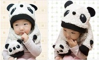 Baby Panda Hat Lovely Baby Cap Scarf Two Pieces set Baby Hat  Free Shipping To Worldwide
