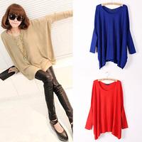 1PCS Women Top Oversized Layering Tunic Knit Sweater Knitwear Sleeve Free Size Batwing Coat