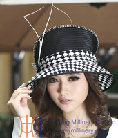 Free Shipping Winter Satin Dress Hat Ladies' Church Hat 100% Polyester Feather Diamond Casings Satin Dress Hats For Women Black